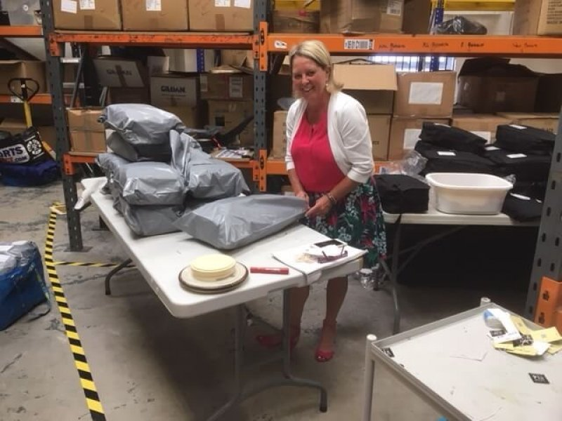 Kim packing the Grab Bags which will be leaving shortly for the New QE Aircraft Carrier